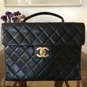 Chanel Black Caviar Leather Briefcase Gold